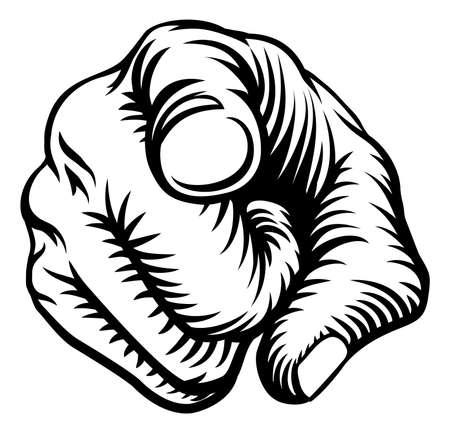 Una mano que señala un dedo en un quiere o las necesidades que usted gesto en un estilo del grabar en madera de la vendimia.