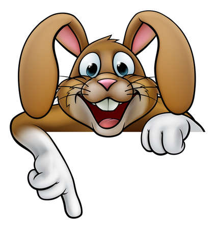 A cartoon rabbit or Easter bunny peeking over a sign and pointing. Ilustrace