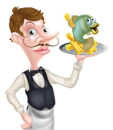 An Illustration of a Cartoon Waiter Butler Holding Fish and Chips. Illustration