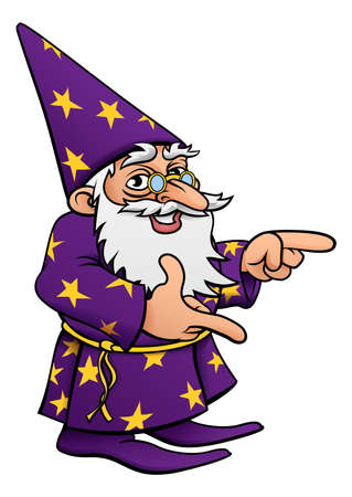 A cute cartoon wizard mascot character pointing. Illustration