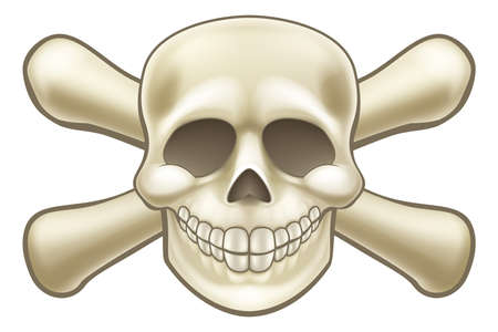 Cartoon Halloween pirate skull and crossbones skeleton illustration Illustration