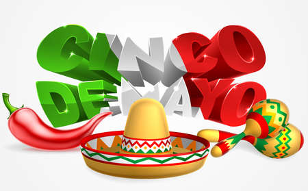 A Mexican Cinco De Mayo label sign decal design with red chilli pepper, sombrero straw sun hat and maracas shakers Illustration