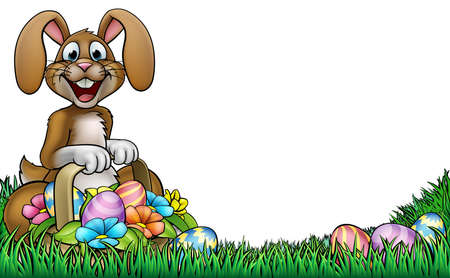 Easter bunny cartoon character holding a basket full of Easter Eggs Illustration