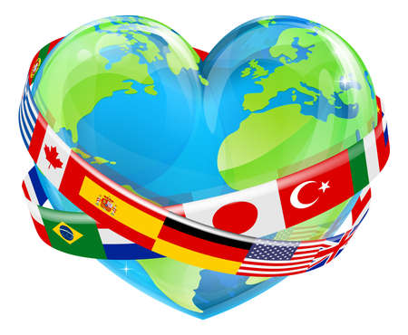 An Earth world globe in a heart shape with country flags around, could be a concept for world Earth Day