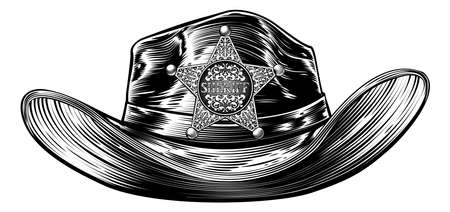 A cowboy hat with a sheriffs star shaped badge in a vintage retro etched or woodcut style