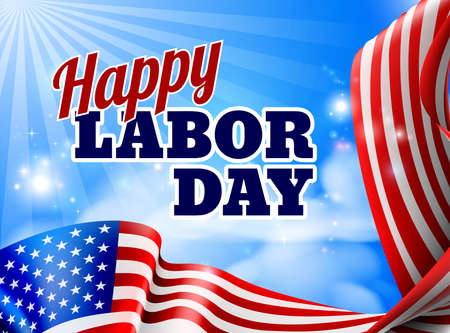 A Happy Labor Day design with an American flag banner border and sky in the background