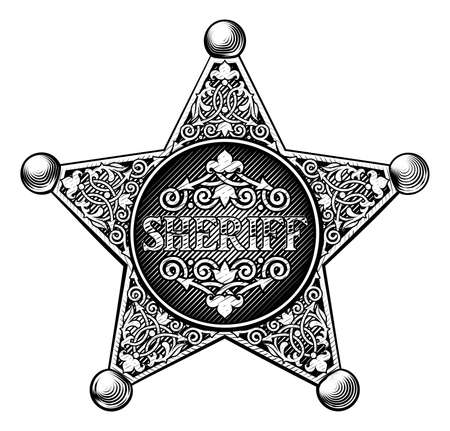Sheriff badge in a vintage etched engraved style Illustration