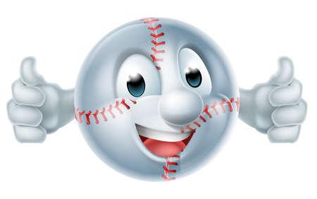 A happy cartoon softball or basketball ball man mascot character doing a double thumbs up