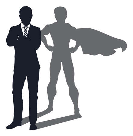 Concept illustration of a business man revealed as a super hero by his shadow