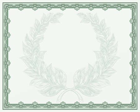 An award or qualification certificate background template with a laurel wreath motif