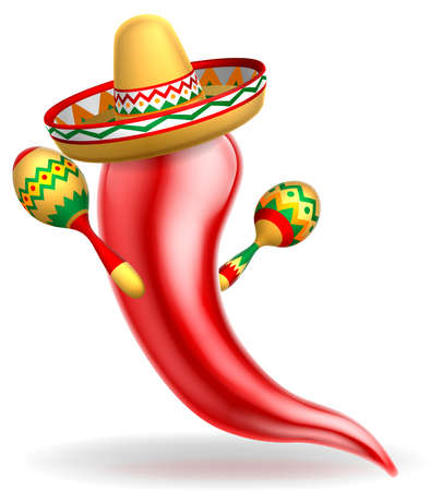 A Mexican red chilli pepper cartoon character wearing a sombrero straw hat and holding maracas shakers Фото со стока - 75276566