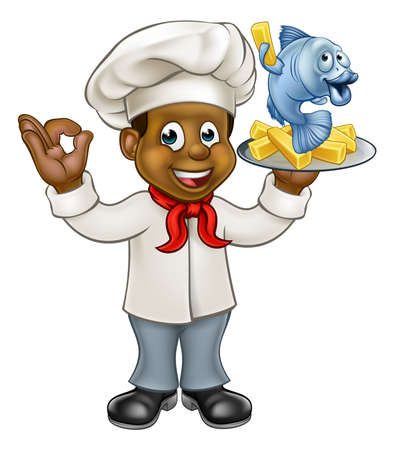 A black cartoon chef character holding fish and chips meal