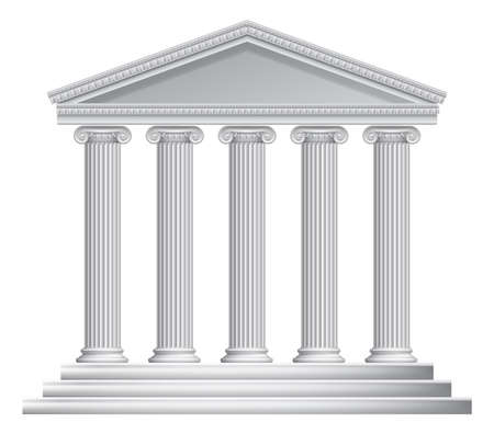 An illustration of an ancient Greek or Roman temple with columns or pillars