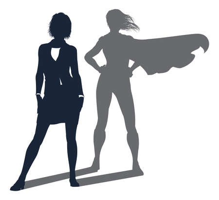 Conceptual illustration of a business woman revealed as a super hero by her shadow