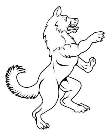 Een huisdierenhond of een wolfsdier die zich op achterste benen in een heraldisch ongebreideld wapenschild bevinden stelt