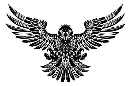 Bald Eagle mascotte stotend met klauwen en vleugels spreiden Stock Illustratie