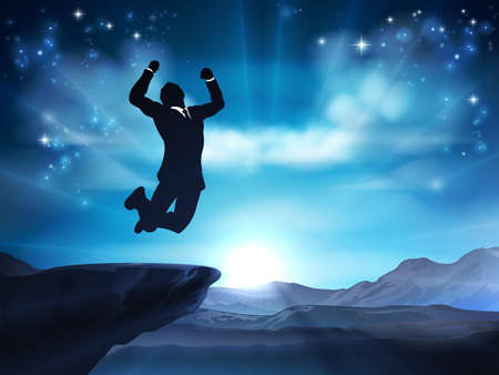Jumping Businessman Success Concept