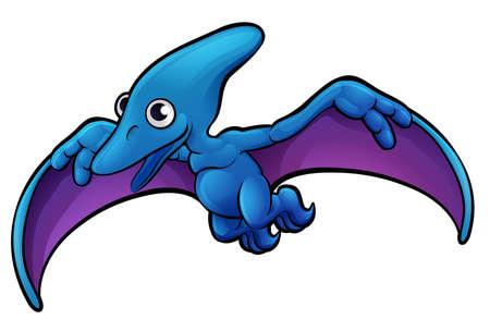 A pterodactyl dinosaur animals cartoon character Illustration