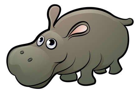 A hippopotamus safari animals cartoon character Ilustração