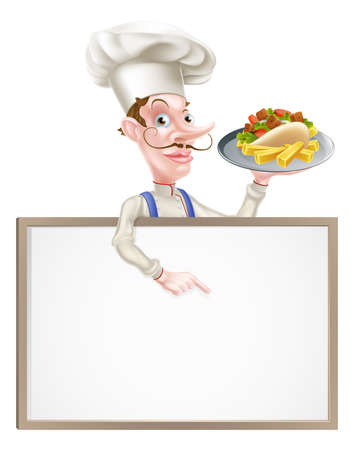An Illustration of a Cartoon Chef Kebab Sign Ilustração