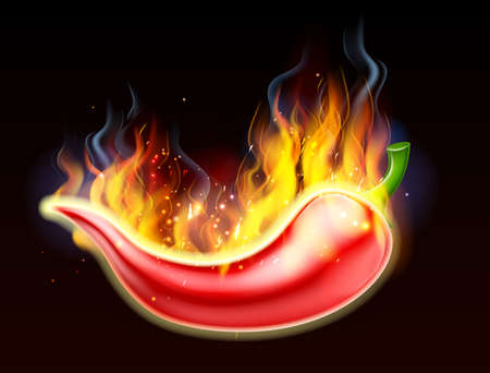 A burning hot spicy red chilli pepper covered in flames