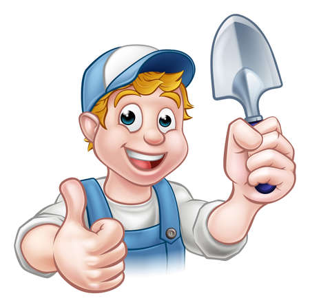 A cartoon gardener holding a gardening tool and giving a thumbs up