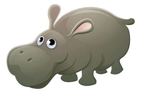 A cute hippo hippopotamus animal cartoon character mascot.