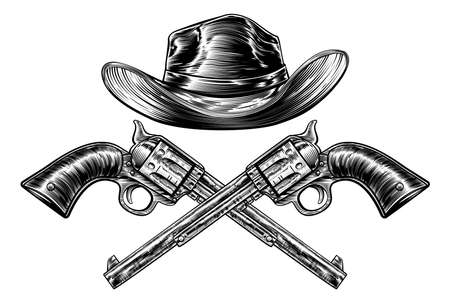 A cowboy western hat and pair of crossed pistol guns in a vintage etched engraved style.