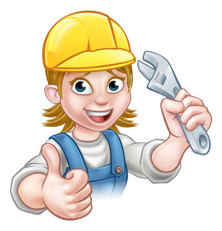 A handyman mechanic or plumber cartoon character holding a spanner and giving a thumbs up