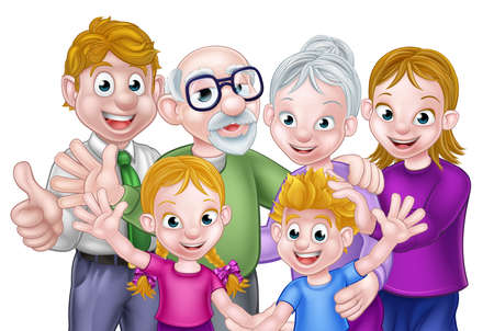 Cartoon happy three generation family with parents, kids and grandparents