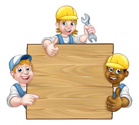 Een achtergrond of teken met handyman, bouwarbeiders enz.