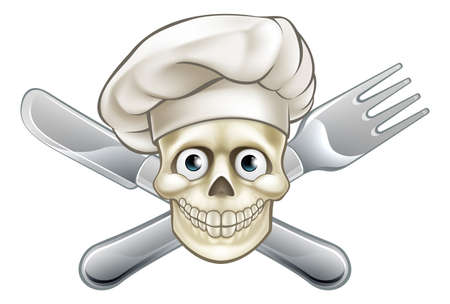 Cartoon chef pirate skull and crossbones with cross knife and fork and hat