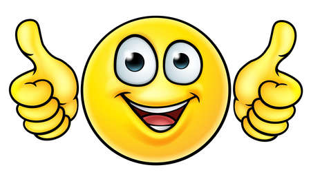 A cartoon emoji icon emoticon looking very happy with his two thumbs up