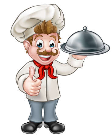Cartoon chef or baker holding a silver cloche food meal plate platter and giving thumbs up