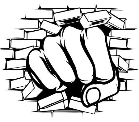 A pop art cartoon fist hand punching a through a brick wall