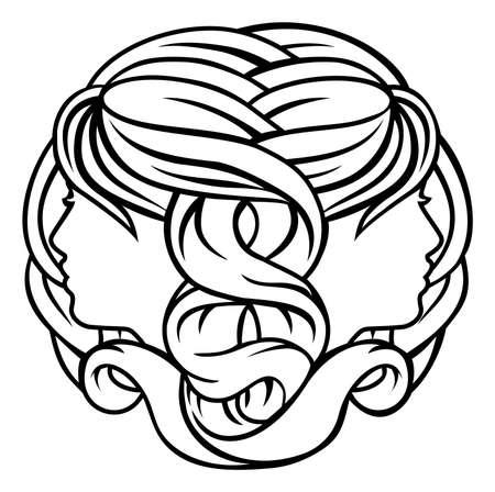 Astrology zodiac signs circular Gemini twins horoscope symbol