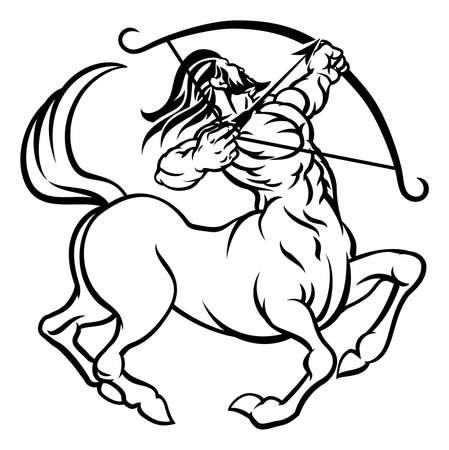 A circular Sagittarius archer centaur horoscope astrology zodiac sign icon Illusztráció
