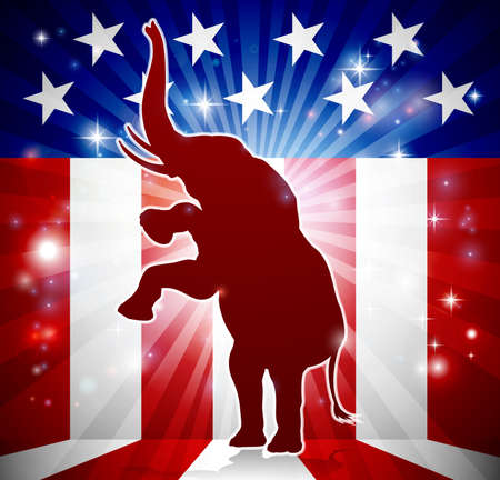 An elephant in silhouette rearing on hind legs with an American flag in the background republican political mascot. Illustration