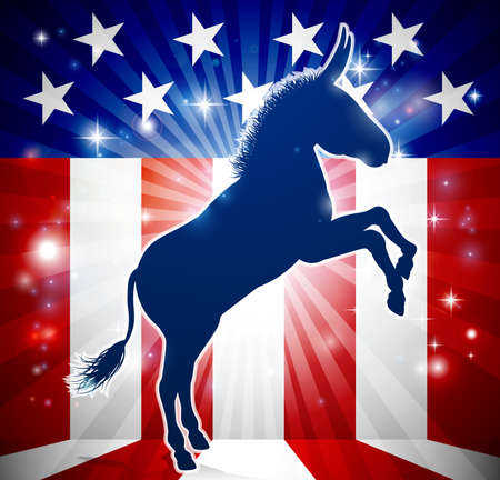 A donkey in silhouette with an American flag in the background democrat political mascot animal.
