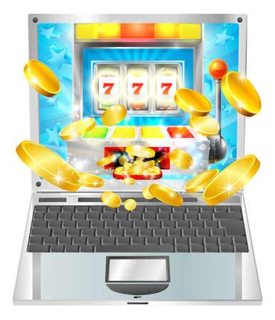 A slot machine laptop computer concept illustration.