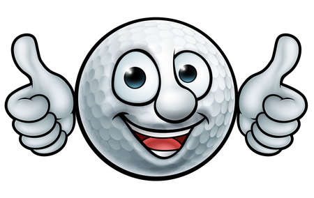 A golf ball cartoon sports mascot.