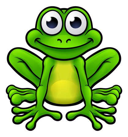 Een illustratie van een schattig kikker cartoon karakter