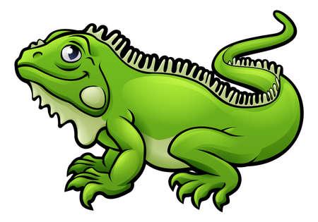 An illustration of an iguana lizard cartoon character Illustration