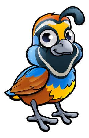 Een kwartelvogel schattig cartoon karakter Stock Illustratie