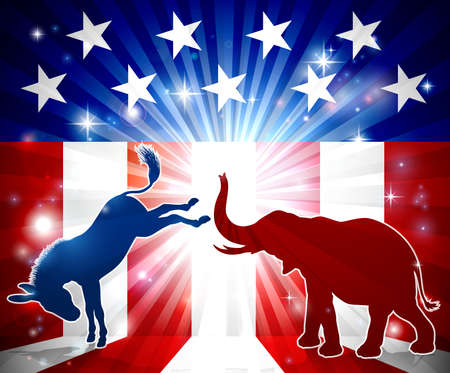A silhouette donkey and an elephant with an American flag in the background democrat and republican political mascot animals Illustration
