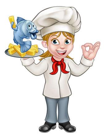 Een cartoon vrouwelijke chef-kok karakter houden vis en chips maaltijd