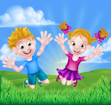 Happy cartoon young boy and girl kids jumping for joy outdoors in a field.