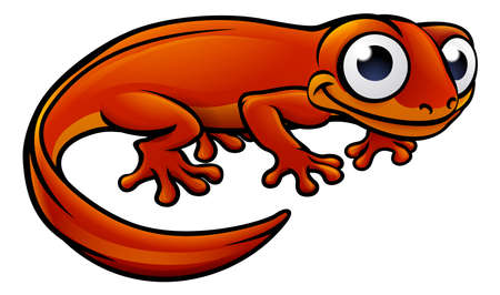 An illustration of a newt or salamander cartoon character Vettoriali