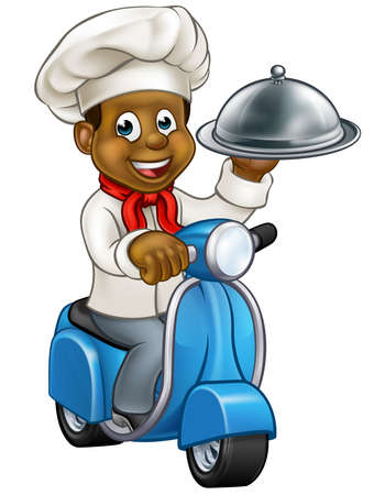 Cartoon black chef or baker character riding a delivery moped motorbike scooter and holding a silver cloche food meal plate platter tray