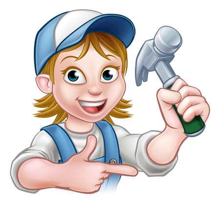 Un personaggio del fumetto carpentiere della donna che tiene un martello e che punta